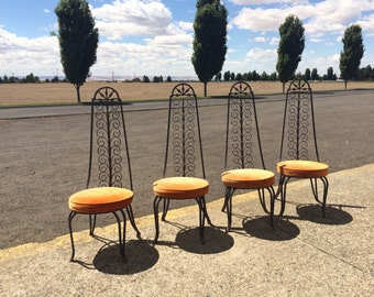 Wrought iron Patio furniture / Spanish revival style / Salterini / patio outdoor furniture / Set of 4 vintage heavy