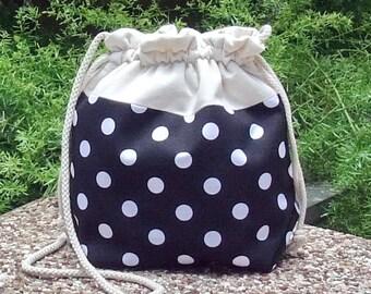 3 in 1 handbag / shoulder bag / crossbody bag ~ Polka dots on black (A9)