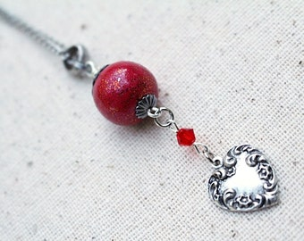 Red Bead Necklace Beaded Jewelry Silver Valentine Heart Retro Short Boho Antique Silver