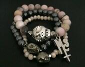 Skull Pink Opal Gemstone Bracelet Three Stack