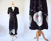 Vintage 1980's Karen Alexander  Cherry Hat Print  Dress | Novelty Print Dress | Vintage Deadstock