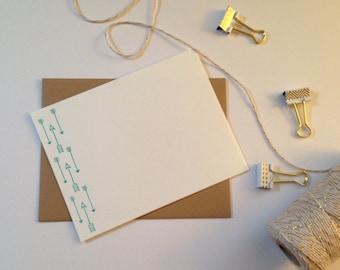 Arrow cards - Letterpress - Stationary - Hipster - Hostess Gift - Set of 6 Flat Cards - archery - Gift under 20