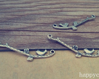 20pcs Antique silver tree branches with bird pendant charm 6mmx38mm
