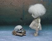 Giclee Fine Art Print. Dark Alley BJD Art Doll with a Skull.