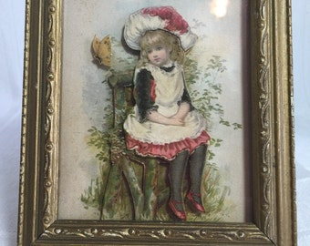 Antique 3 Dimensional Decoupage Blond Girl 1920 Clothing Sitting with Butterfly Paper Art Picture Adorable Anton Pieck?