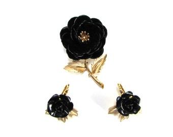Vintage Trifari Brooch and Earring Set - Black Enamel Rose