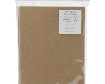 Brown Kraft Paper Envelopes A2 4 3/8 x 5 3/4 Inches Set of 25