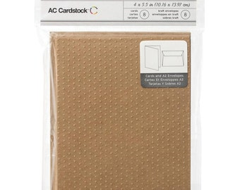 Swiss Dot Embossed Brown Kraft Paper Blank Cards and Envelopes A2 Size - 8 Sets to Embellish