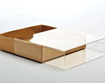 "5 Kraft Paper Box Bases with Clear Sleeves, A7 Size 5 3/8"" x 1"" x 7 1/2"" for Photos, Greeting Cards, Invitations, etc"