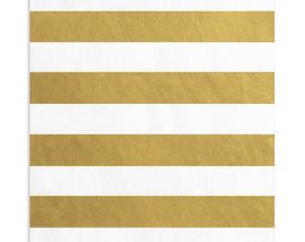 50 Metallic Gold Striped Favor Bags, 5 x 7.5 Inch Flat Paper Bags