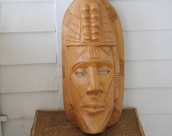 large African mask, wood African mask, tribal art, large Tribal mask, African decor, African wall hanging
