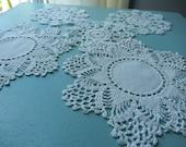 Five Little Doilies - Vintage Doilies - Coaster Size Doilies - White Vintage Doilies - Vintage Linens - Crocheted Doilies