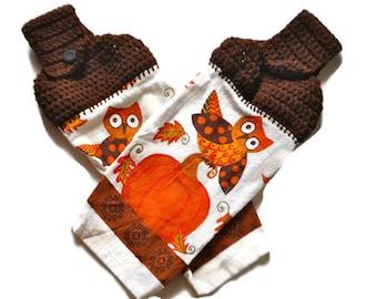 SALE! Set of 2 Fall Harvest Owl and Pumpkin Kitchen towel,  Crochet top kitchen button towel, Orange and brown owl and pumpkin,Pumpkin decor