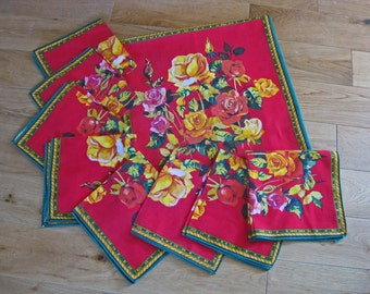 Bright floral tablecloth and napkins set - beautiful French printed flowers