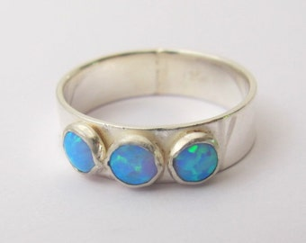 Opal Ring, Sterling Silver Ring with Blue Opal, Gemstone ring, Handmade
