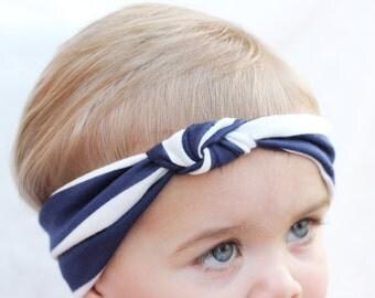 Baby Turban Knot Headband, Blue & White Striped Turban, Baby Hair Accessory, Toddler Hair Bows, White Turban, Back to School Headband