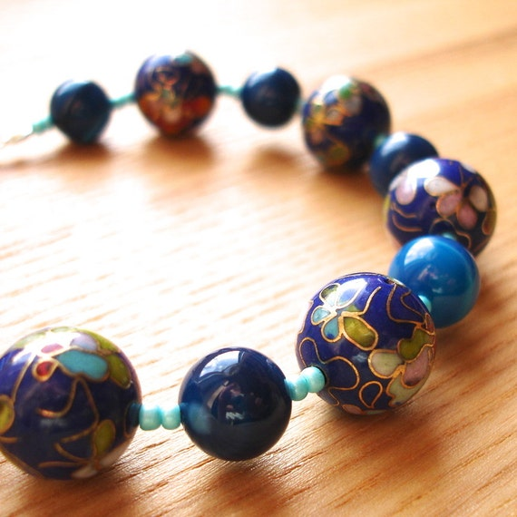 Cloisonne Bead Bracelet in Blue Handmade Fashion Designer Jewellery - Gorgeous Unique Cloisonne Beaded Gift for Her