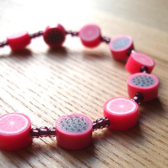 Polymer Clay Bracelet - Pink Grapefruit FIMO Bead Jewellery - Unique Beaded Bracelet Gift for Mum