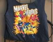Small Marvel Heroes Upcycled Tshirt Bag / Purse / Tote