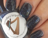 Under the Stars (Full size 15ml) midnight blue jelly glitter indie polish by Fedoraharp Lacquer