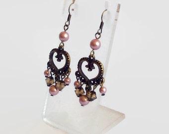 Powder pink bronze dangly Swarovski crystal and pearl earrings
