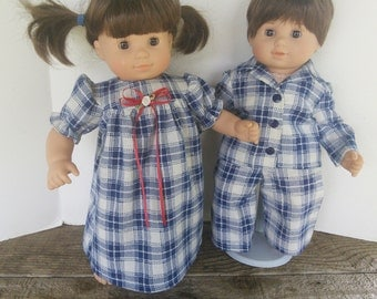 "American Girl 15"" Doll Clothing - Bitty Twins Boy/Girl Blue Plaid Cotton Flannel Pajamas Set Bitty Baby"