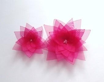 2 Pink Organza Flowers Embellishment