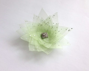Light Green Organza Flower Embellishment