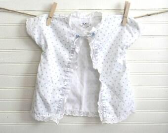 Vintage Baby Clothing, Bathrobe, Cotton Bathroboe, Blue and White Floral Prind Wrap, Cotton Jacket, 0-6 Month Size Baby Jacket, 60s SALE