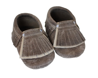 Double Fringe Dristressed Brown Baby Moccasins