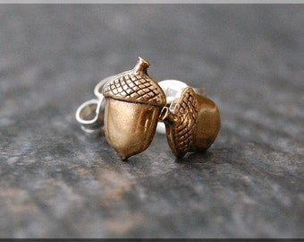 Tiny Acorn Earrings. Gold Acorn Post Earrings, Brass Acorn Earrings, Handmade sterling silver post stud earrings, Nature Inspired Jewelry