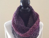 Gemstone Stripes Hooded Infinity Cowl Neck Warmer Circle Snood Scarf Soft Cluster Crochet
