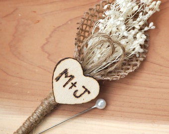 Rustic Heart Wedding Boutonniere with Baby's Breath