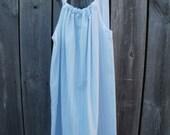 SALE...Size Girls 8/10, Upcycled Girls Pillowcase Dress Cool Summer Stripe Print