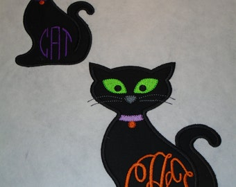 """Custom Halloween Monogrammed 6"""" tall Black Cat iron on or sew on applique patch"""