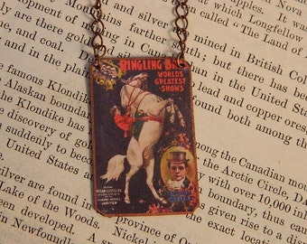 Circus necklace Circus Jewelry Circus Poster mixed media jewelry