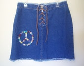 Ladies Denim Mini Skirt, Upcycled, OOAK Handmade, Hippie, Boho, Peace Sign Vintage Buttons, Size 12, Suede Leather Lace up, Gift Item