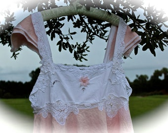 Darling Boho Ballerina Pink Linen Cami Top Lace Sweet Heart Mori Girl Forest Girl Dolly Kei Lolita  Style