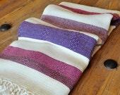 Turkish Beach and Bath Towel Bamboo Peshtemal Towel Ivory Multicolor Pure Soft