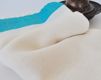 Turkish Towel Cotton Peshtemal Towel Pure Soft Natural Ivory Turquoise striped