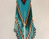 Exclusive Long Dancing Fire turquoise Boho Hippie Gypsy Native style 8in  hand beaded delica earrings