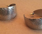 Boho Silver Tone Earrings, Large Hoop, Gypsy, Pierced, Vintage Jewelry, Gift for Her