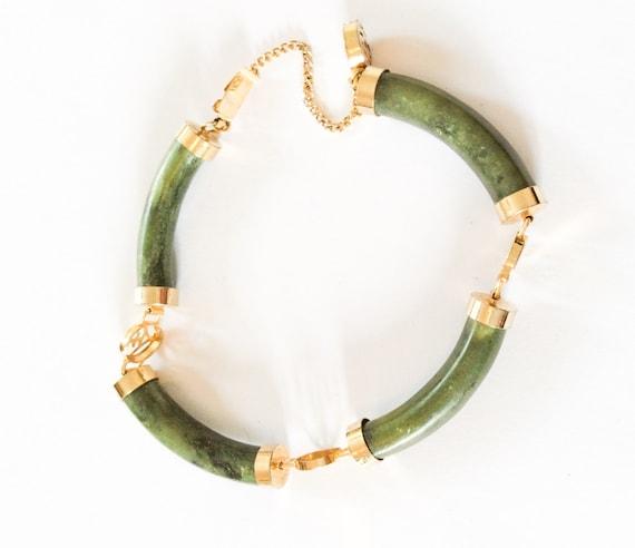 jade bracelet chinese meaning longevity gold tone vintage