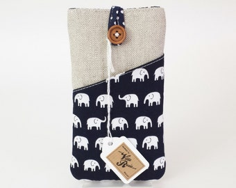 Padded Phone Case with Headphones Pocket for ANY Smartphone iPhone SE 5 5s 5c 6 6s 7 Plus Natural Linen Elephants Navy Blue Polka Dot Fabric