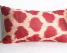 26x14 inch-Luxurious ikat Pillow,Lumbar Pillow,Traditional Handmade Pillowcase, Modern Silky Decorative Pillow For Couch