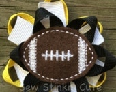 Embroidered Football Felt Loopy Bow
