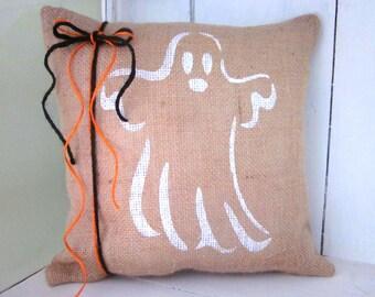 Halloween pillow, burlap pillow, fall pillow ghosts, ghost pillow, decorative pillows, rustic burlap, rustic halloween,