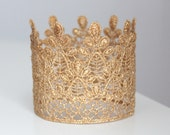 Tall Gold Lace Crown for Boy or Girl - Perfect Princess or First Birthday or Newborn Photo Prop