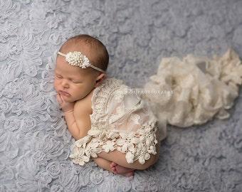 Rhinestone Pearl and Lace Vintage Headband set in Gold - Beautiful Newborn Photo Prop