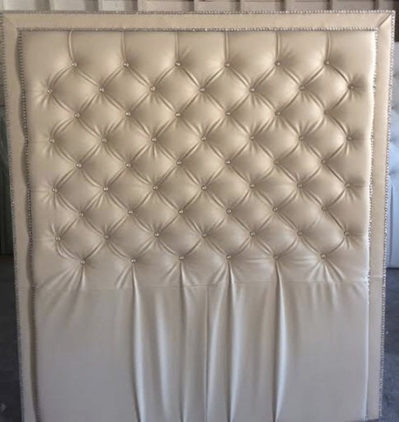 Crystal Button Diamond Tufted Faux Leather Headboard With